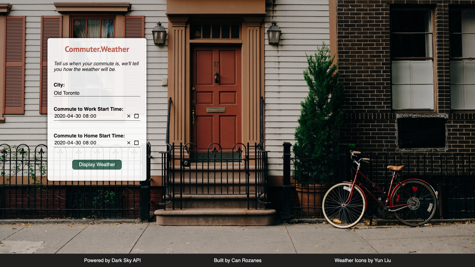 screenshots of my Commuter Weather landing page